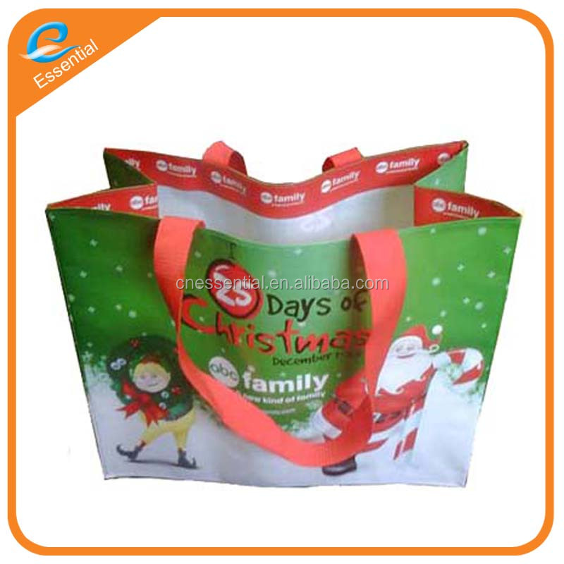 Full color printing Christmas PP woven laminated shopping bag supermarket bag
