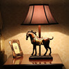 Antique Resin Table Lamp With Fabric