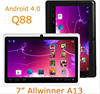 Q88 Allwinner A13 Dual Camera 7inch Tablet PC Android 4.2 512MB DDR3 4GB WIFI AAAA Quality