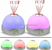 Hemisphere projection clock silver star Colorful changing alarm clock