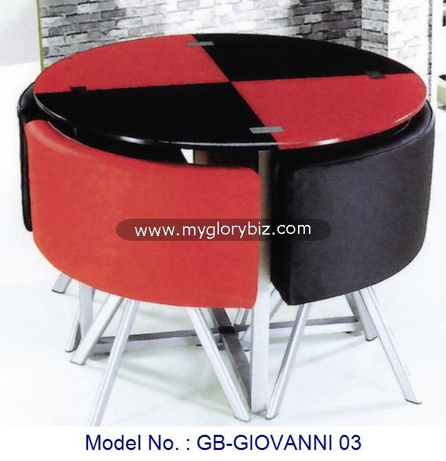Black And Red Metal Furnitures Sets Space Saving Home Furniture, Double Color Fancy Dining Set Chairs And Glass top Table