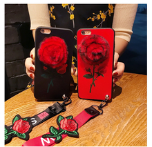 Innovative Plush Rose Relief Embossed Flower Full Phone Case for iphone X/8 Rose Lanyard Drop Resistance Cover for iphone 7plus