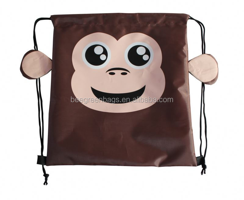 BeeGreen Personalized 190T polyester animal shape monkey design drawstring bag