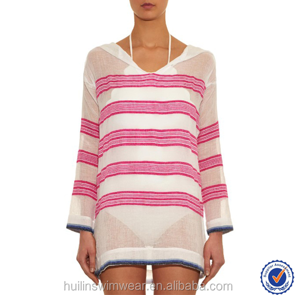 wholesale products sexy fashion show beach dress white and pink striped