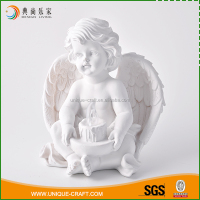 Wholesale table decorative white resin angels with lighting