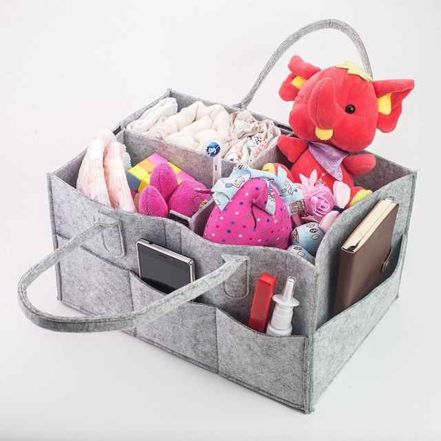 Baby Diaper Caddy Organizer - Nursery Storage Bin for Diapers, Baby Wipes, Kid Toys | Portable Storage Basket for Car Travel