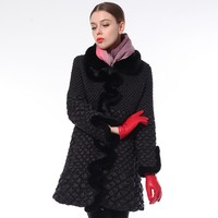 Ladies Long Padded Jacket With Crinkle Quilting And Rabbit Wave Eddge