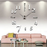 Home Office Room Decor DIY Large Wall Clock 3D Mirror Surface Sticker+Gift