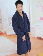 Colorful Solids Polyester Fleece Shawl Collar Bathrobe Mens Dressing Gowns