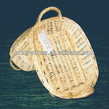 natual full buff oval wicker basket tray with handle(factory provide)