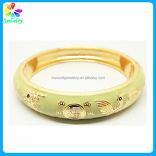 Lucky birds 18K real gold plated hinged bangle bracelet for man