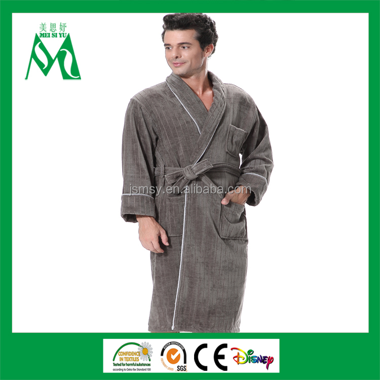 Direct by china promotional sleepwear men bathrobe with trim