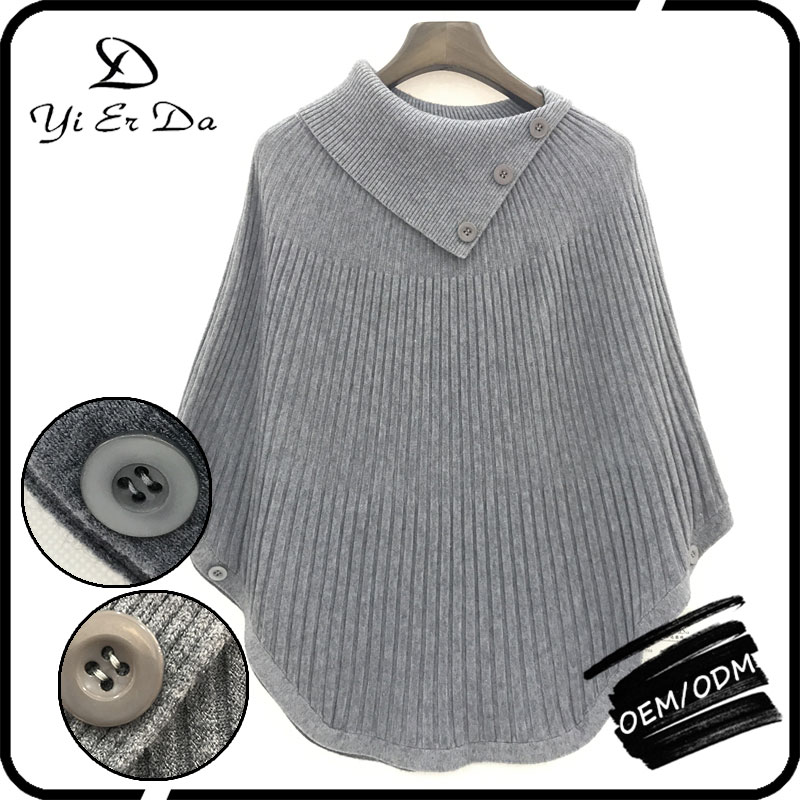 Fashion Women Wear Long Sleeve Sweater Cable Knit Sweater Poncho