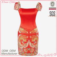 Elegant and fairy stain red printed plus size evening dress