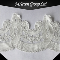 Wholesale white net embroidery lace trim, machine embroidery neck lace designs, polyester embroidery lace trim for dress