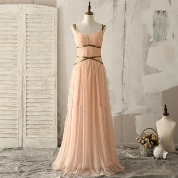 Shoulder back with chiffon long dress evening dress night gown evening prom dress party dressED596