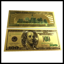 Golden craft gold plated gift, banknote business gift 24k gold 100 dollar plastic currency banknotes,