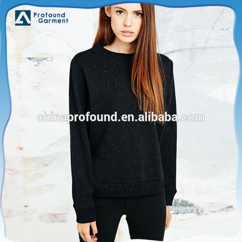 Fall clothing embroidered acid wash crewneck sweatshirt for women
