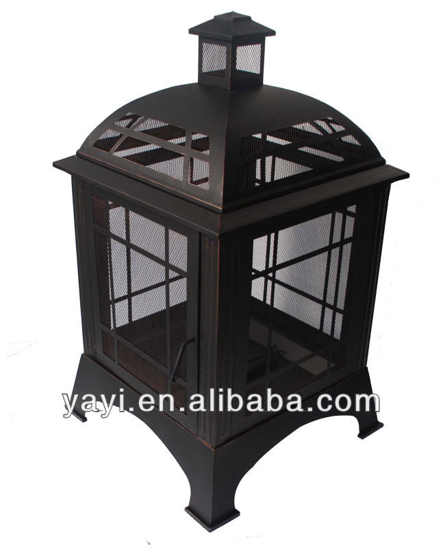 outdoor fire place with chiminea