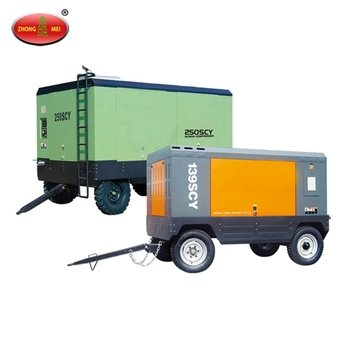 Factory Direct Sale Towable Twin Diesel Screw Air Compressor For Water Well Drilling Rig Machine