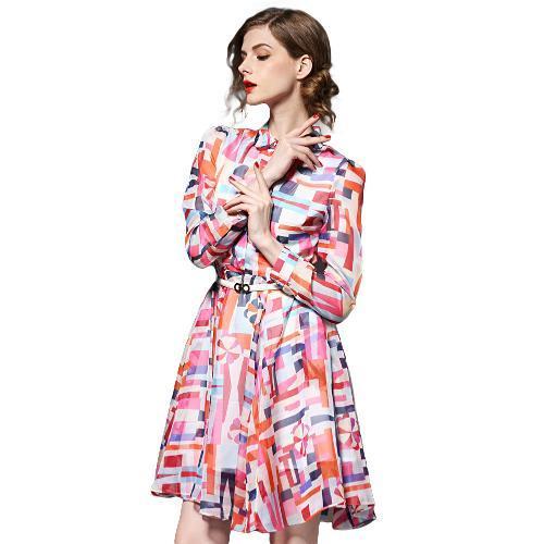 New Fashion Women Chiffon Dress Plaid Print Turn-Down Collar Long Sleeve Pleated Hem Check Shirt Dress Rose