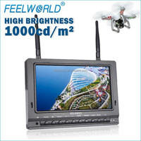 FEELWORLD 7 inch high brightness 1000cd/m wirelesss receiver fpv av transmitter monitor micro quadcopter