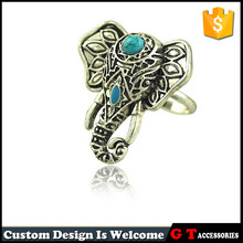Bohemian Style Fashion Elephant Ring With Synthetic Turquoise, Open Adjustable Ring