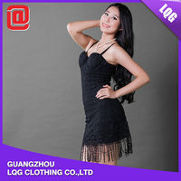 Fashional black lace floral short dress costume sexy school girls