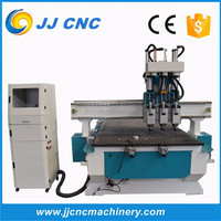 Wood furniture cabinet door making machine / woodworking milling cutting grooving machine / ATC cnc router with 3 Pneumatic tool