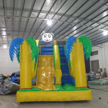 High quality yellow Springs Panda Theme Commercial Inflatable Slide