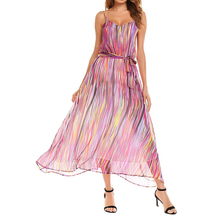 Ladies Latest Fashion Shift Style Purple Striped Belted Sleeveless Chiffon Maxi Beach Dress