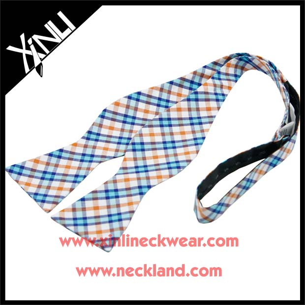 Plaid Cotton Mens Wine Bottle Self Bow Tie Cheap