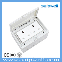 SAIP/SAIPWELL Household Item 2 Way English Style 110-250V 13A IP55 Electrical Socket box