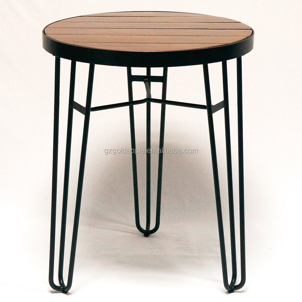 table outdoor wire base wooden top table buy wooden table round