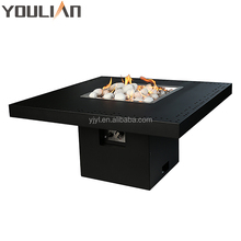 Square gas fire pit table with burner and electronic ignition for outdoor patio use