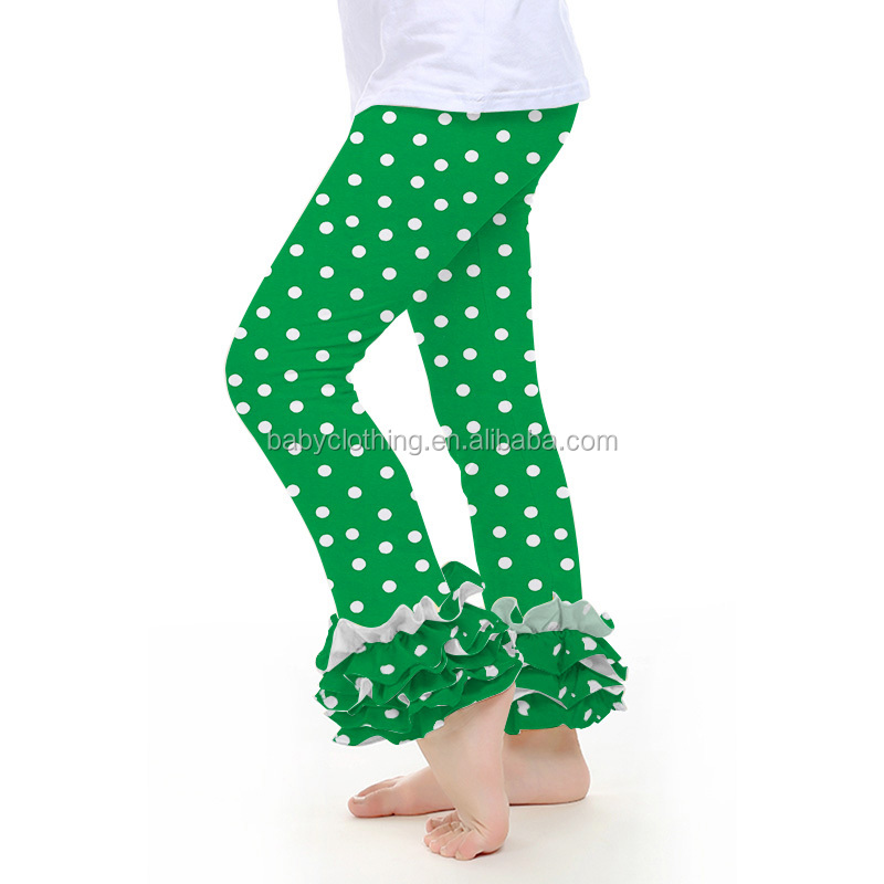 polka dot green baby girls icing pants ruffle leggings 2017