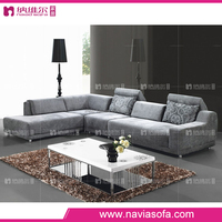 Foshan drawing room furniture new design cheap l shaped modern fabric big grey sectional sofa
