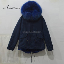 Fashion black cotton shell blue fur jacket with hood outwear warm in winter lined coats