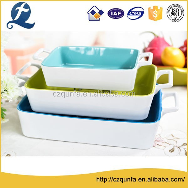 Food safe different size practical 3 pcs ovenware bakery ceramic