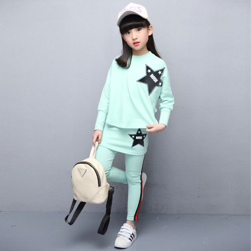 Girls Casual Clothes Set Long Sleeve Pullover Sports Suit for Children
