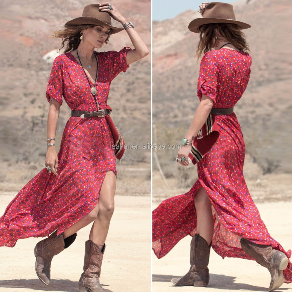 Women's Boho Style Floral Gown Party Dress Deep V Neck Long Maxi Dress With Belt