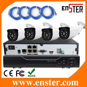 ENSTER 4ch POE security cctv camera system With 4 pcs POE ip camera,25 FPS each Channel 720P