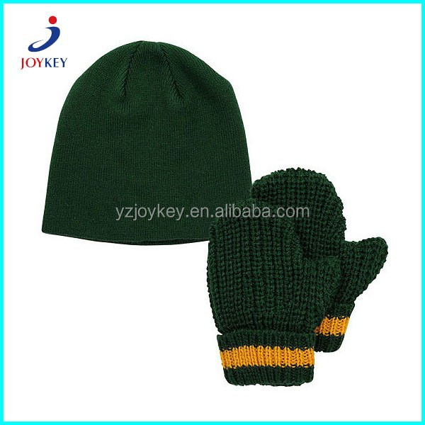 green color custom crochet mitten and knitted hat