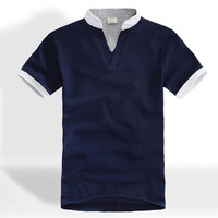 v neck collar t shirts blank t shirt wholesale