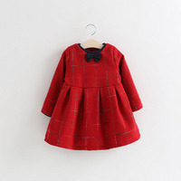 New Fashion European Style Winter Red And Check Pattern Bowknot 3 Years Old Girl Dress