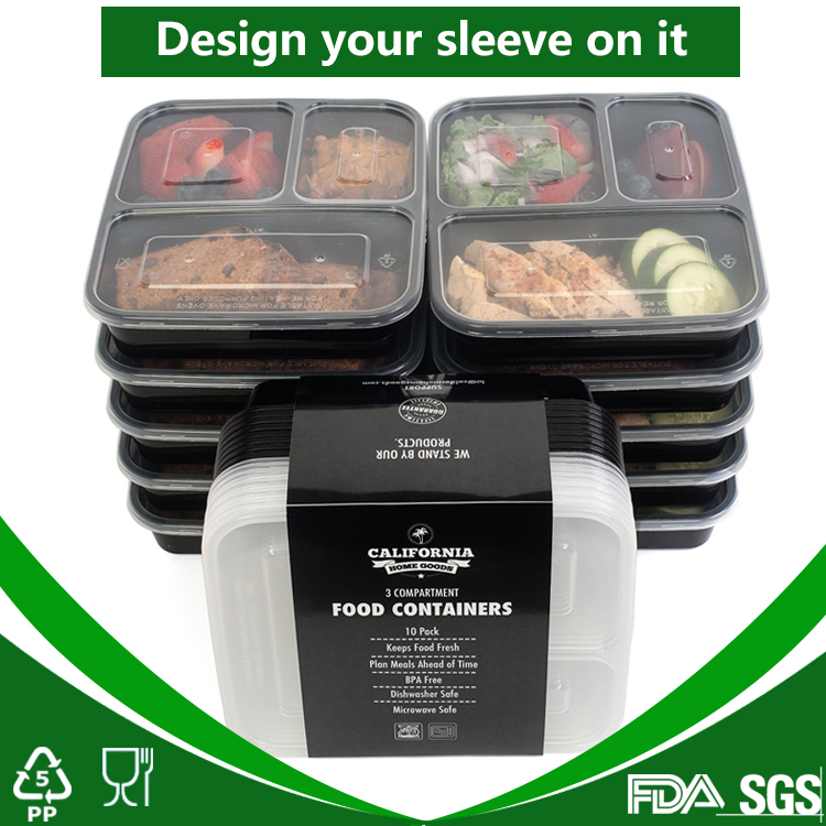 Cheap 3 compartment microwave food container Customized private labeling belt sleeve
