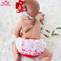 Christmas Red And White Tutu Ruffle Chiffon Cheap Wholesale Baby Bloomers For 0-6Y Kid Girls