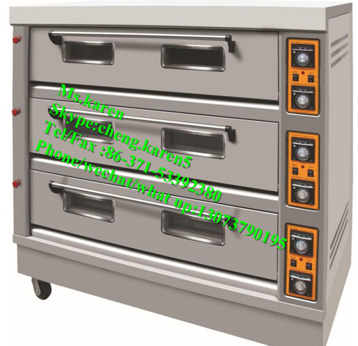 Stainless steel bakery oven / 3 decks bakery gas oven /Automatic bakery gas electric bread baking oven