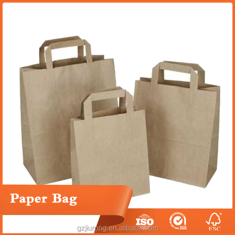 Kraft Paper Carrier Bags Brown with Flat Handles Takeaway Gifts