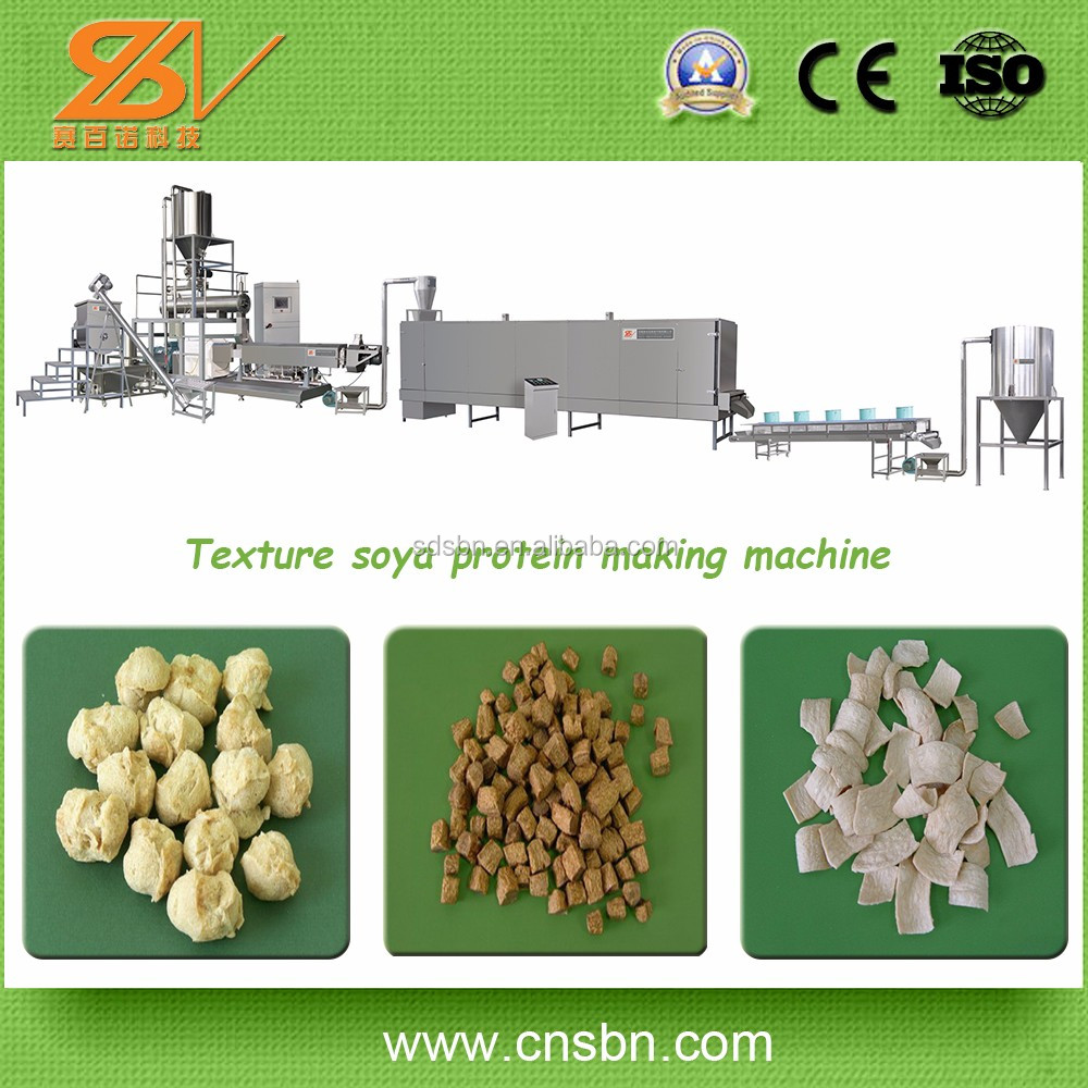 Dafatted soya flour 250-600kg/h Capacity 220-400v soy meat processing line/soya nuggets production line